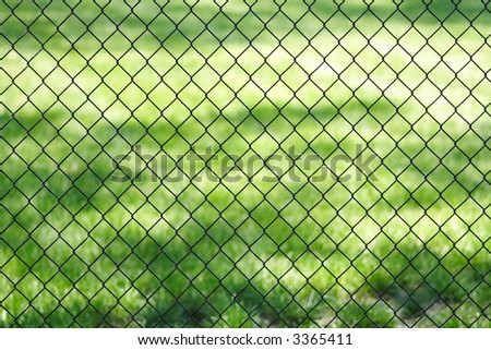Painted metal fence, narrow focus fades on grass - stock photo