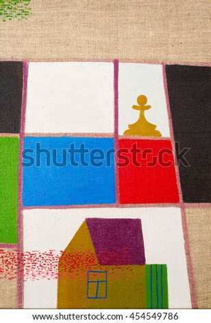 painted oil painting is called Improvised chess board. a square board divided into sixty-four alternating dark and light squares - stock photo