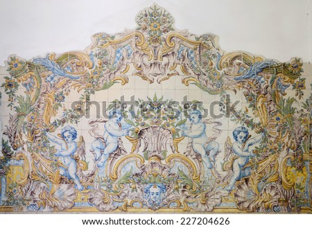 Painted old ceramic tiles on the wall in train station,sintra, Portugal - stock photo