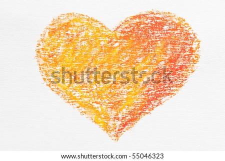 painted on paper crayon heart - stock photo