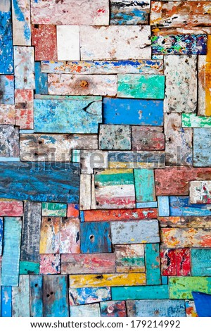 Painted peeled wooden decoration texture - stock photo