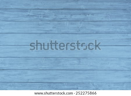 Painted Plain Baby Blue and Gray Rustic Wood Board Background that can be either horizontal or vertical. Blank Room or Space area for copy, text,  your words, above looking down view. Tinted photo. - stock photo