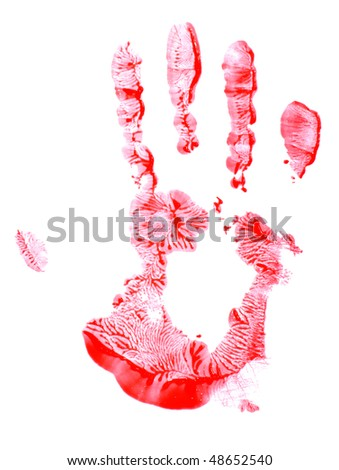 Painted red handprint isolated on white background - stock photo