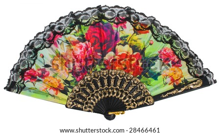 painted spanish hand fan isolated over white with clipping path