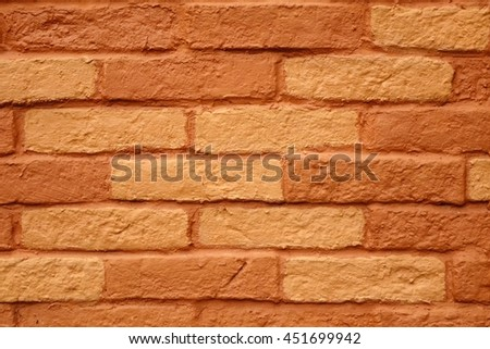 Painted Terracotta Outdoor Brick Wall Surface, Background Or Texture With Copy Space, Close Up - stock photo