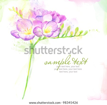 Painted watercolor card with freesia and text - stock photo