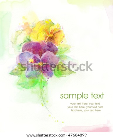 Painted watercolor card with pansies and text - stock photo