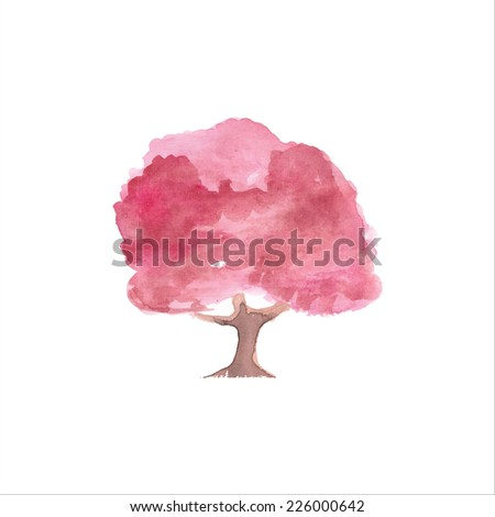 Painted watercolor card with tree. Vector illustration. - stock photo