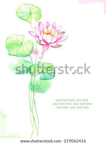 Painted watercolor card with water lily flower and place for text - stock photo