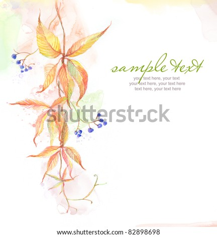 Painted watercolor card with wild grape leaves and text - stock photo