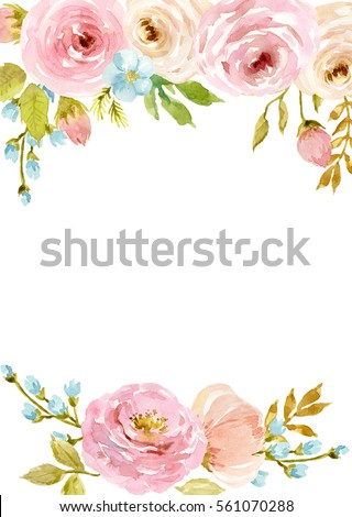 Painted Watercolor Composition Of Flowers In Pastel Colors Frame Border Background Greeting