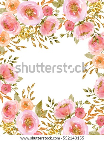 Painted Watercolor Composition Flowers Gold Sparkle Stock