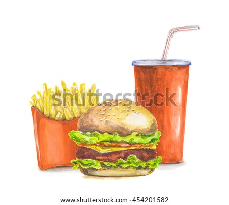 Painted watercolor fast food. Red pocket of french fries, red cola cup and fresh delicious burger on white background. isolated on white