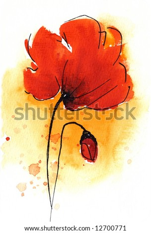 Painted watercolor floral background in different shades of apricot and orange with two romantically red poppies. Art is created and painted by photographer - stock photo