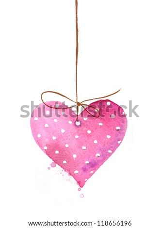 Painted watercolor heart - stock photo