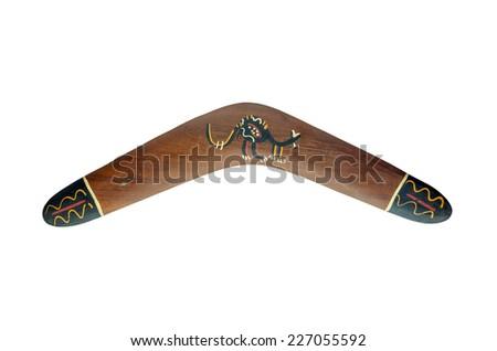 Painted wood boomerang isolated on white background - stock photo