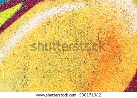 Painted Yellow Color Graffiti Wall texture