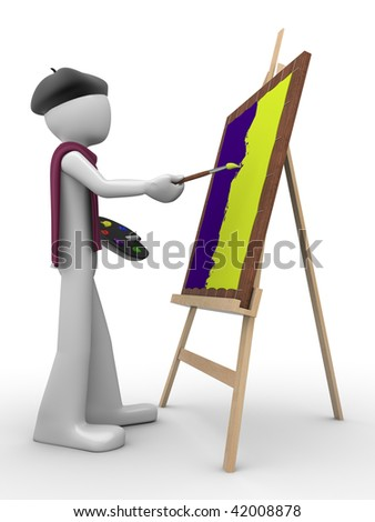 Painter at work (men at work series) - stock photo