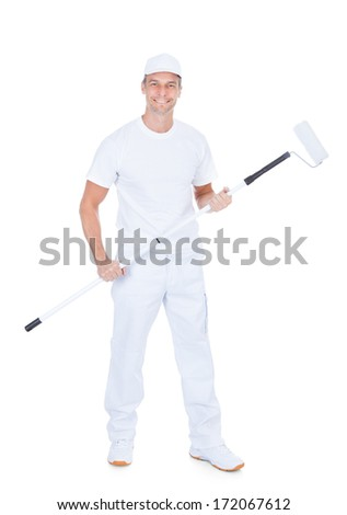 Painter Holding Paint Roller On White Background
