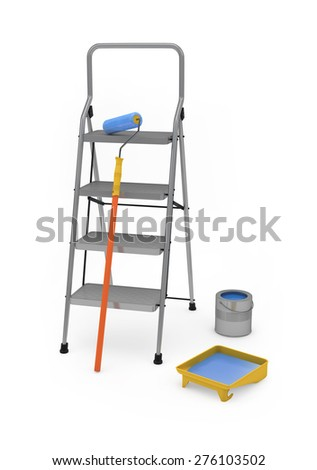 Painter's equipment isolated on white with clipping path - stock photo