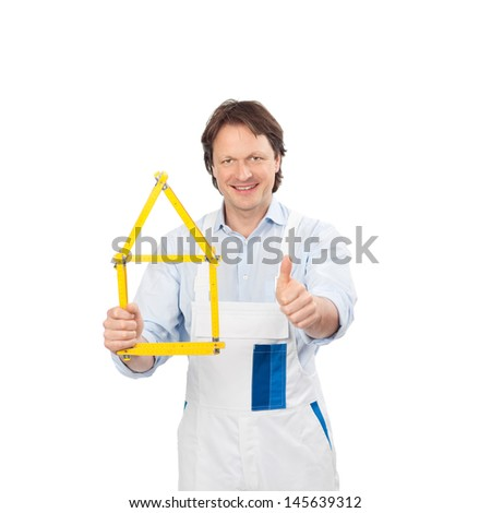 painter showing thumb up and a house symbol - stock photo