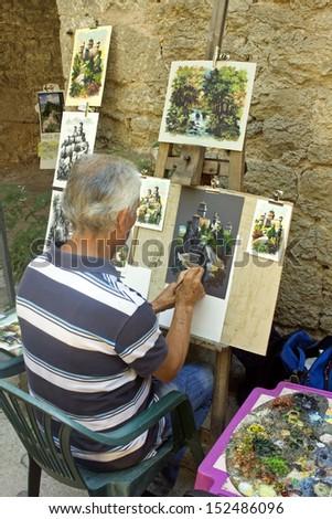 painter street - san marino - stock photo