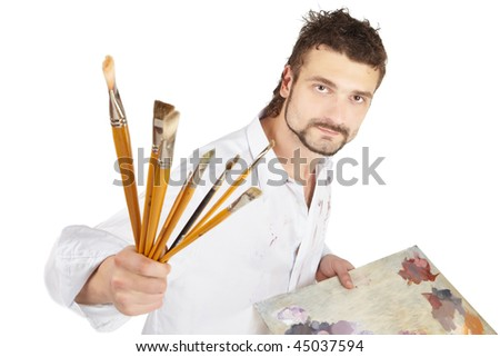 Painter with brush and palette. Isolated over white - stock photo