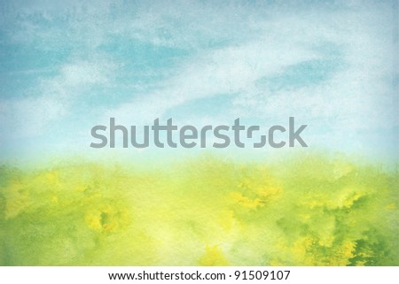 painterly, abstract landscape with foliage, blue sky, and clouds