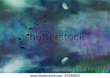 Painterly marsh landscape under moon - stock photo