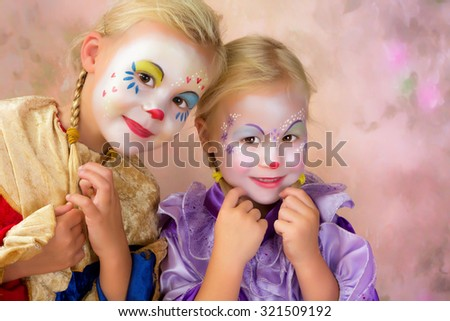 Painterly portrait of two adorable clown girls - stock photo