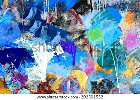 Painters palette / Artist palette / Mixed colors - stock photo
