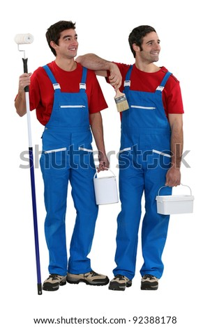 painters standing on white background - stock photo