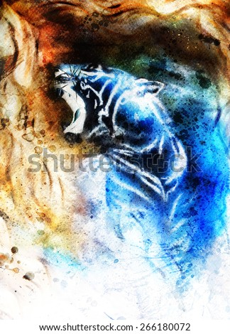 painting abstract tiger collage on color space background, wildlife animals. - stock photo