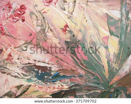Painting abstract with oil paints on canvas - stock photo