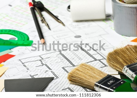 Painting and drawing tools on the premises for repair scheme - stock photo