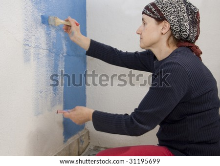 painting at home - stock photo