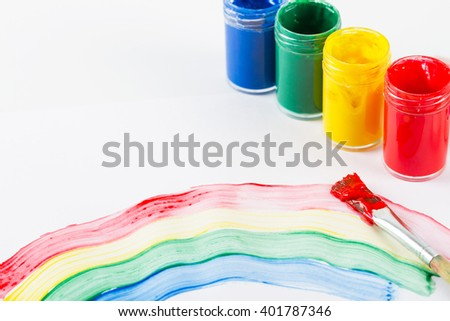 Painting brush with paint and colorful paint  - stock photo