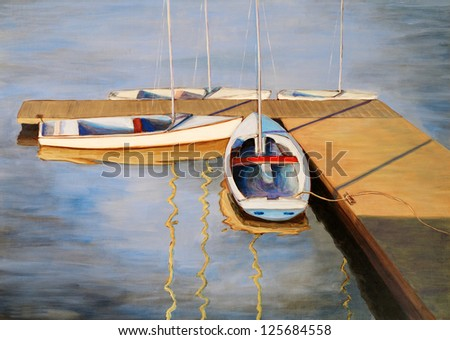 Painting - Dinghies at Port Edgar, South Queensferry, Firth of Forth, Scotland