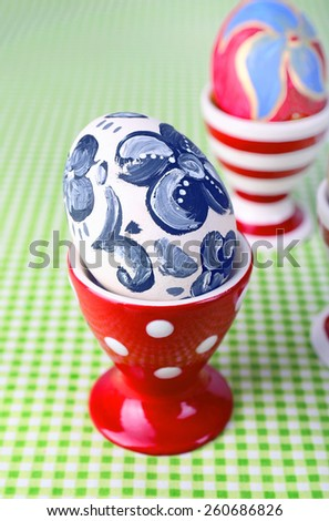 Painting Easter eggs on table close up - stock photo