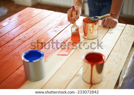 Painting furniture - stock photo