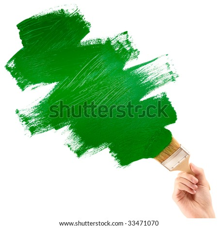 Painting green shape - stock photo