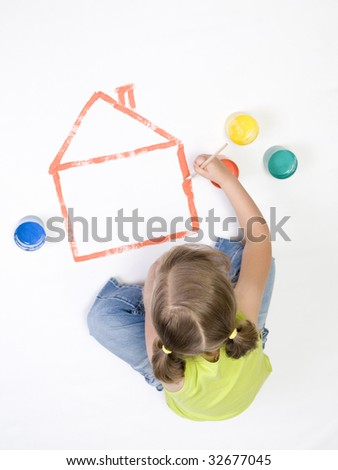 Painting house - stock photo