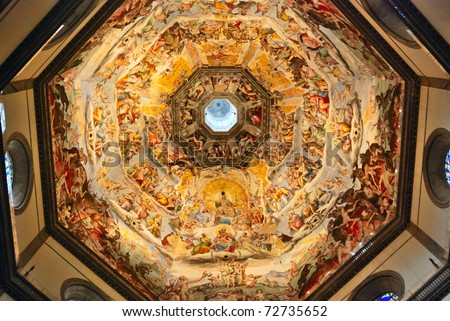 Painting inside of the Brunelleschi cupola of Florence Duomo. - stock photo