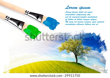 Painting landscape with copyspace for your text - stock photo