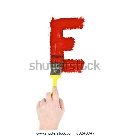 Painting Letter E on white background - stock photo