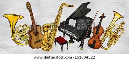 Painting Music Instruments - Musical Background - stock photo