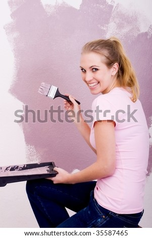 painting new house - stock photo