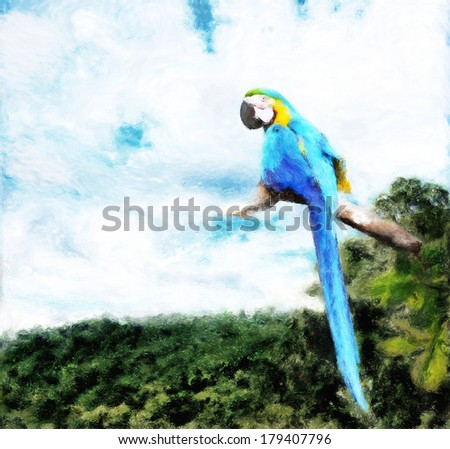 Painting of a blue and gold macaw perched above a tropical forest