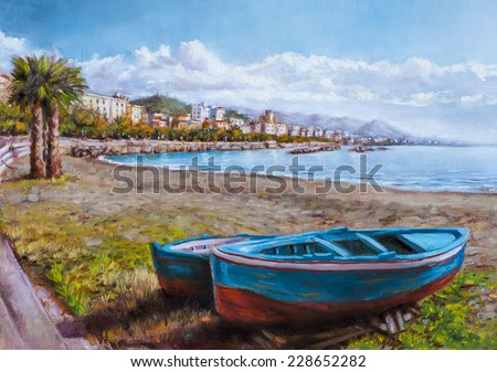 painting of a coastal landscape - stock photo