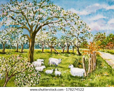 Painting of a flock of Sheep in an orchard - stock photo